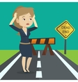 Businesswoman looking at road sign dead end vector image vector image
