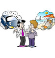 cartoon a family man there think what to vector image vector image
