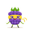 Cartoon character of happy superhero blackberry