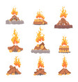 Cartoon types of tourist tcampfires set of