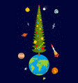 christmas on earth new year on planet big vector image vector image