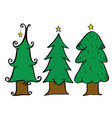 christmas tree drawing set vector image