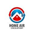 circle arrow home air circulation logo concept vector image
