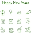 Colletion style icon of new year element vector image vector image