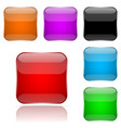 colored 3d glass buttons square icons vector image vector image