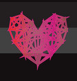 colorful polygon heart icon on black background vector image vector image
