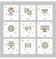 colorful set of cinematic icons on gray vector image