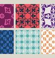 Colorful set of seamless floral patterns vintage vector image vector image