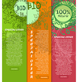 Colorful vertical banners of 100 bio natural food vector image