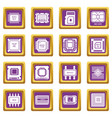 computer chips icons set purple square vector image vector image