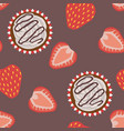 cream cupcakes and strawberries seamless pattern vector image