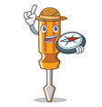 explorer screwdriver character cartoon style vector image vector image