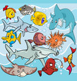 fish cartoon animal characters group vector image vector image