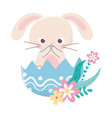 happy easter day cute rabbit in eggshell flowers vector image vector image