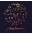 Happy Hanukkah doodle set Vintage vector image vector image