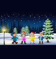 happy kids playing in winter landscape at night vector image vector image