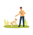 happy man playing with dog pet flat cartoon vector image