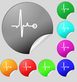 Heartbeat icon sign Set of eight multi colored vector image vector image