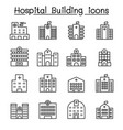 hospital building icon set in thin line style vector image vector image