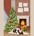 interior with christmas tree fireplace dog vector image vector image