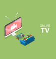 isometric flat concept of smart tv home vector image vector image