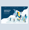 isometric landing page for business solutions vector image vector image
