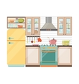 Kitchen interior Kitchen appliances and utensils vector image vector image
