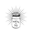 milk can with beams world day of milk vector image vector image
