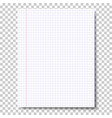 notebook checkered sheet of paper vector image vector image