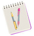 notebook yellow pen and pink pen vector image vector image