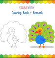 Peacock coloring book educational game vector image vector image