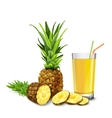 Pineapple juice glass vector image vector image