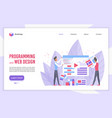 programming and web design flat landing page vector image