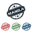 Round Manila city stamp set vector image