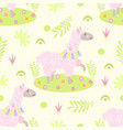 seamless pattern with cute llama with flowers vector image vector image