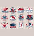 set american football or rugclub sticker vector image