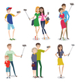 set people making self photo using a smartphone vector image