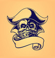 skull pirate hand drawing ribbon vector image