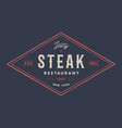 steak logo meat label logo with text steak vector image