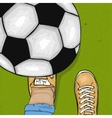 The player throws and gets his foot on the ball vector image