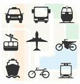 Transportation Big Black and White Icon Set vector image