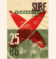 typographic surf beach party grunge retro poster vector image vector image