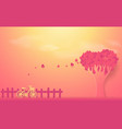 valentines day concept tree made out hearts vector image