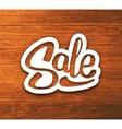 Vintage Sale banner sticker on wood background vector image
