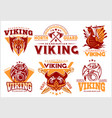 vintage viking emblems set with scandinavian vector image