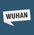 wuhan speech bubble wuhan ribbon sign wuhan banner vector image vector image