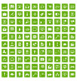 100 web and mobile icons set grunge green vector image vector image