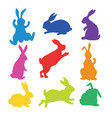 9 silhouettes bunnies vector image