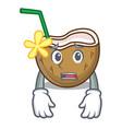 afraid cocktail coconut mascot cartoon vector image vector image