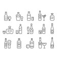 alcohol drinks line icons outline bottles vector image vector image